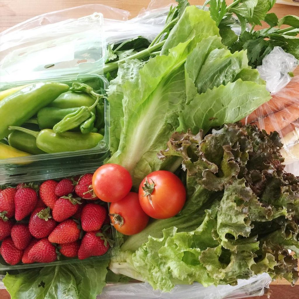 We are on our second week of getting a CSA box, and I'm so loving it!! Today I had my 4 year old with me to pick up our crate full of strawberries, lettuce, tomatoes, escarole, collards, celery, carrots, and peppers. I'm enjoying just letting whatever the farm sends us guide our cooking. #csa #highgroundorganics #farmfresh #farmtotable